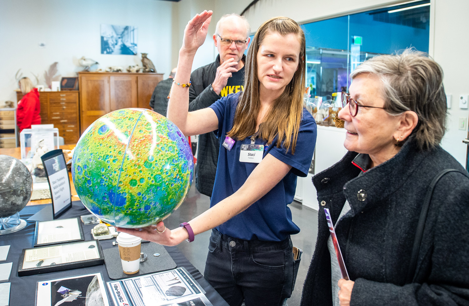 U of M alum teaches visitors about the different topographies on the Moon's surface
