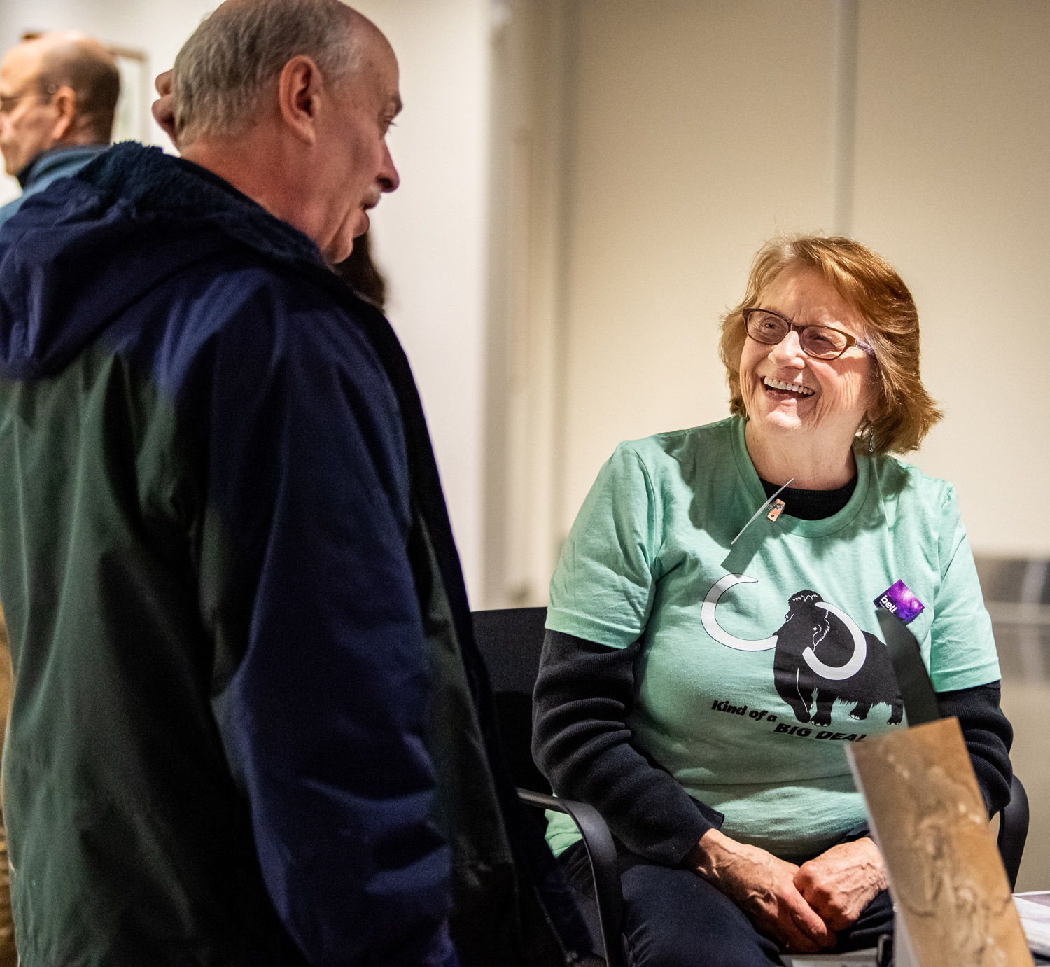 Bell Museum volunteer and visitor chat