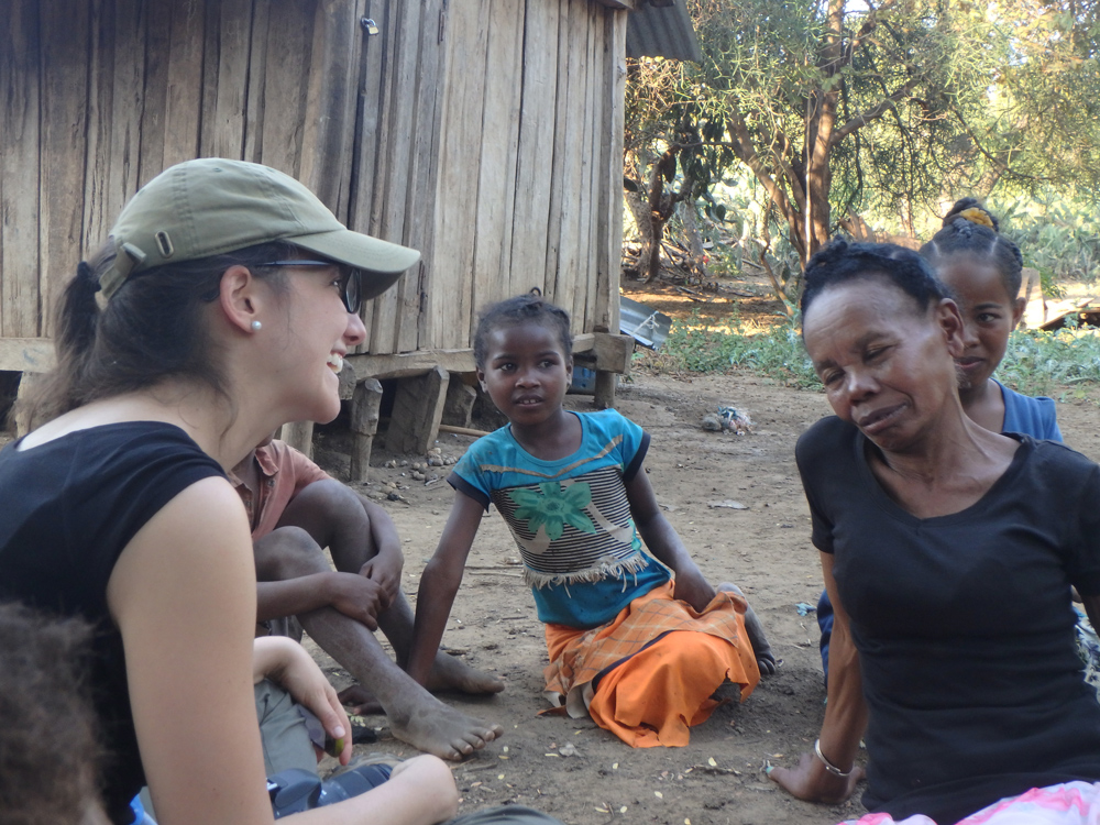 Mondragon-Botero talking to people living near her field research area in Madagascar
