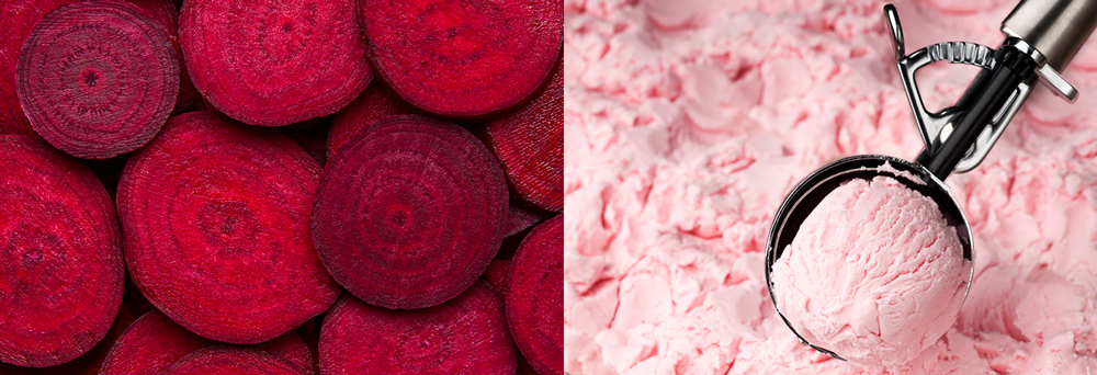 Beets and strawberry ice cream