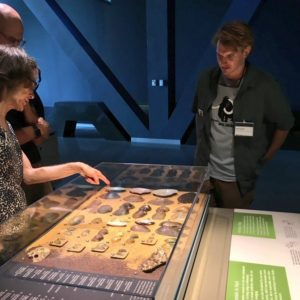 Visitors looking at a display about mussels