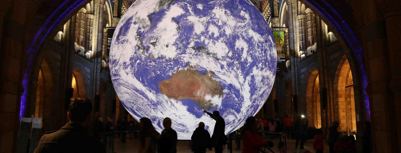 Gaia, an artwork by Luke Jerram -- internally lit earth sculpture