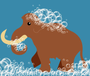 Illustration of woolly mammoth covered in soap suds