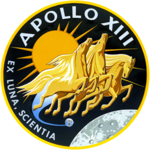 Golden horses in space as the Apollo 13 insignia