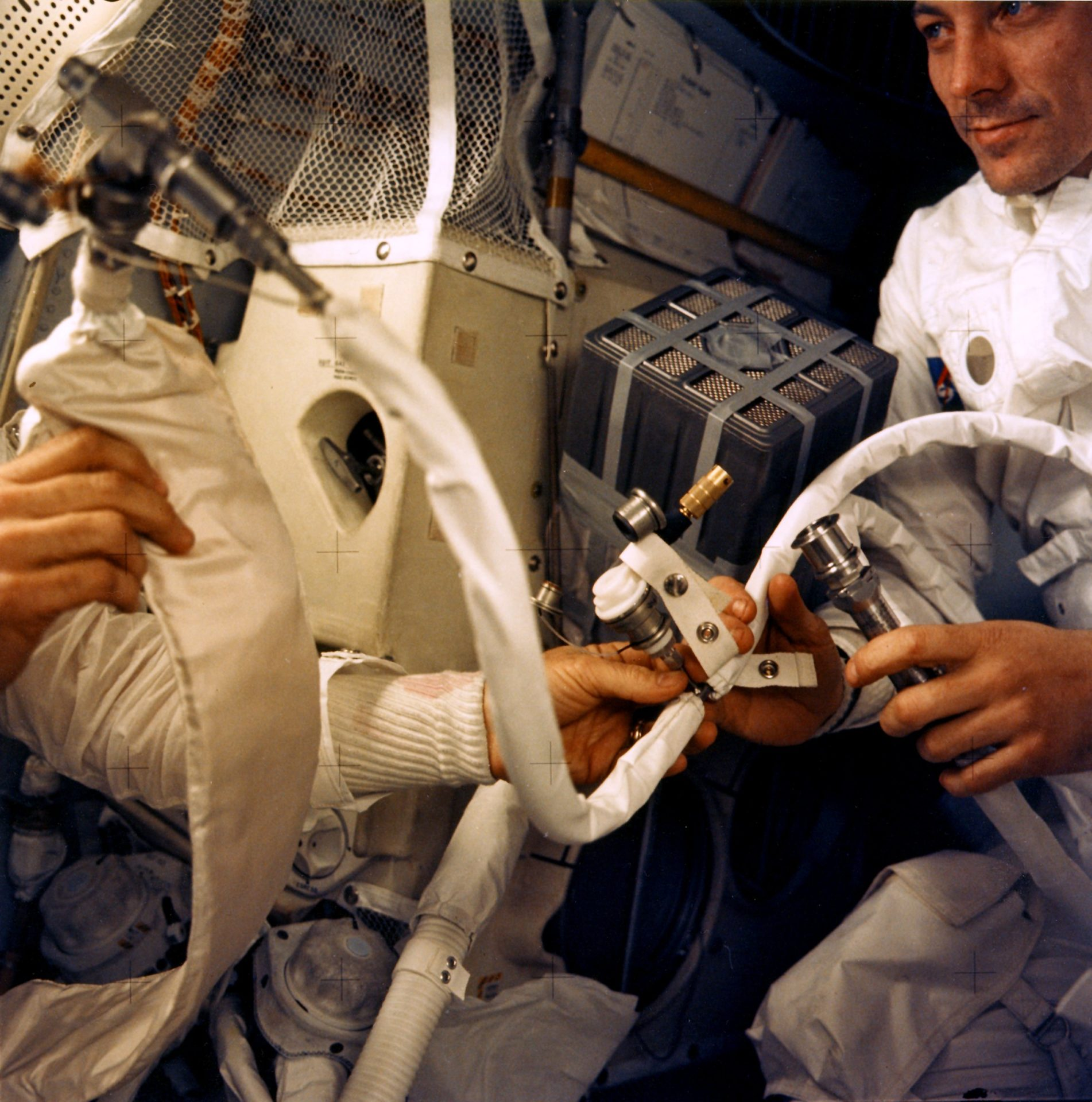 Astronauts working on repairs