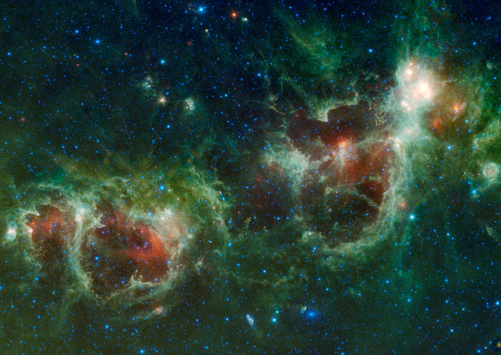 Colorful image of the Heart and Soul nebulae