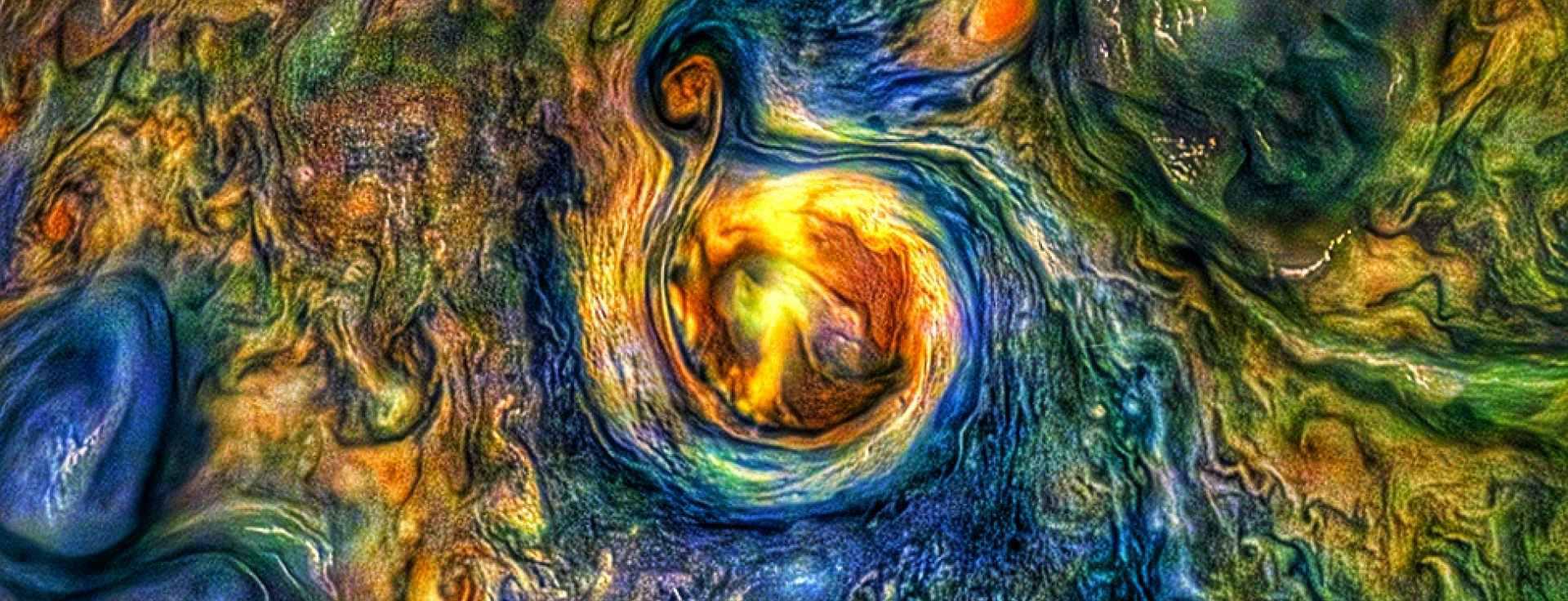 a rainbow of marbled swirls on jupiter's atmosphere