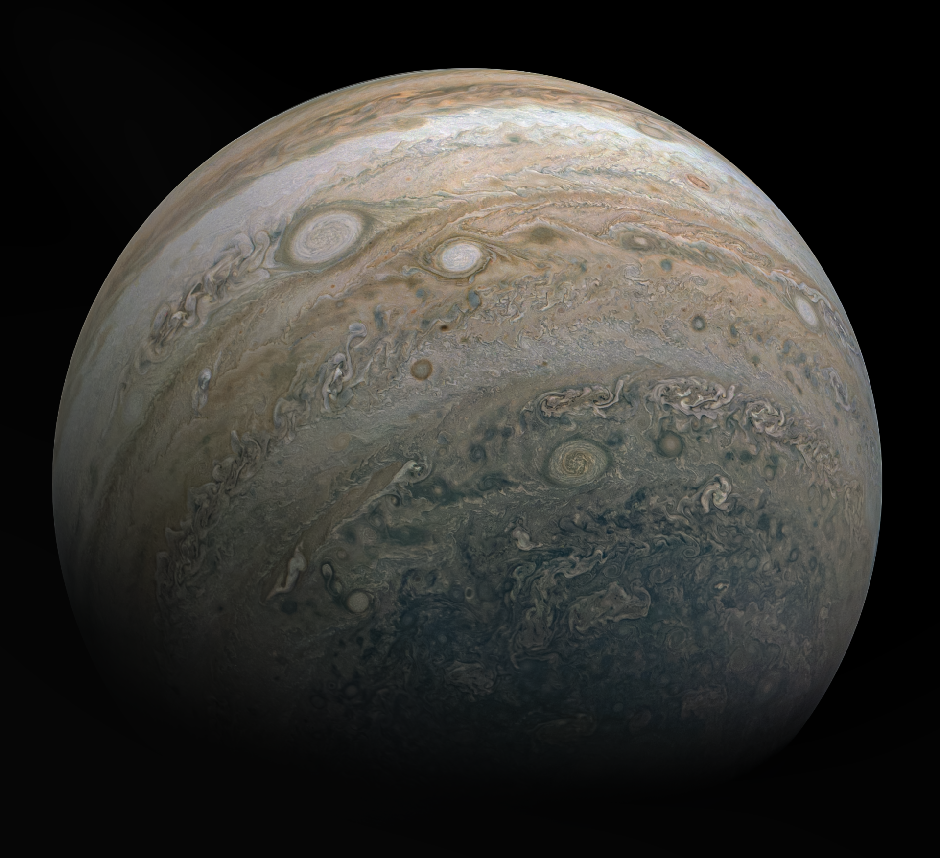 Jupiter image, showing many small storms