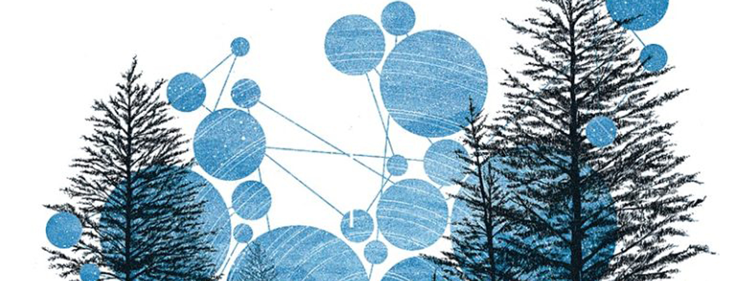 Graphic with connected dots and trees, text: Probable Meets Possible: Bio-inspired futures rooted in the right now