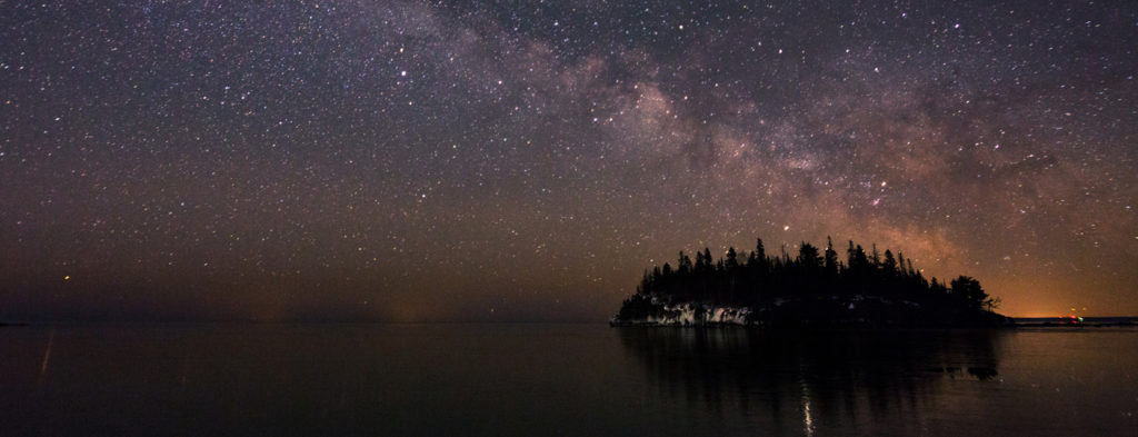 The night sky off the North Shore of Lake Superior