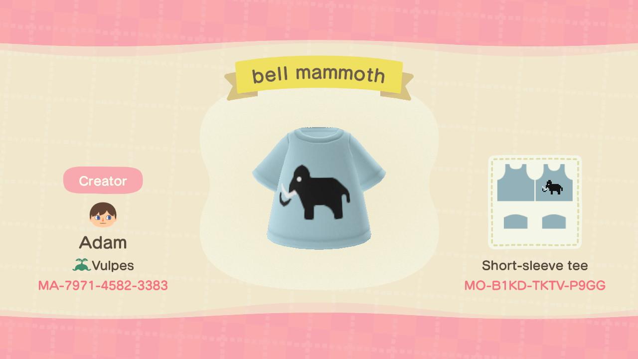 A custom animal crossing shirt with a mammoth created by Adam.