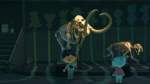an animal crossing avatar stands by a mammoth skeleton in the game