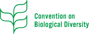 a logo with 3 green leaves for the Convention on Biological Diversity