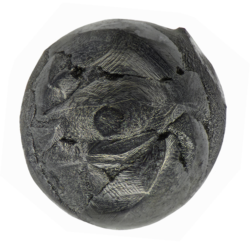 micrometeorite with folded pattern on surface