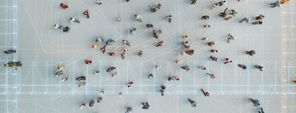 People and lines from far above