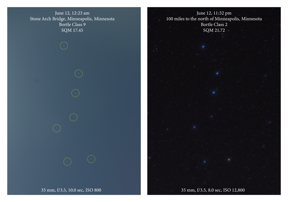 Two images of the Big Dipper, with and without city lights