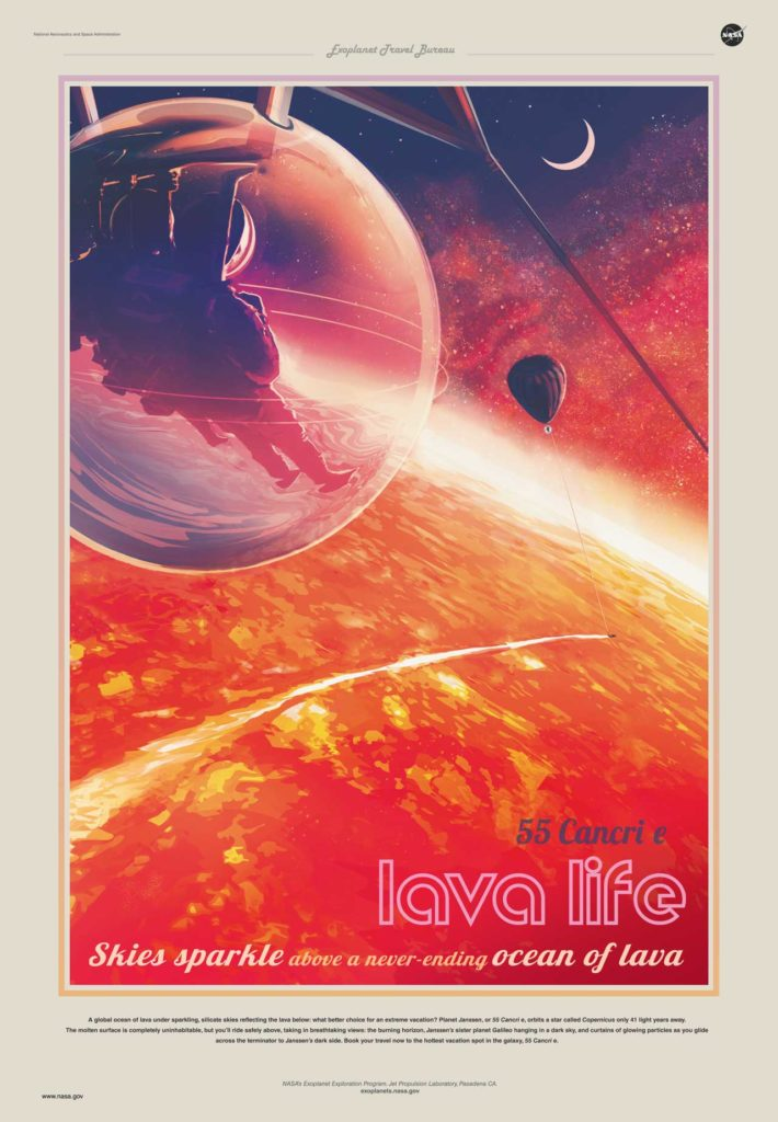 artists rendering of an astronaut on a new planet filled with Lava (text LAVA LIFE)