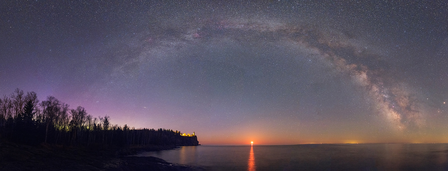 Night sky with Milky Way over Split Rock Lighthouse and Lake Superior