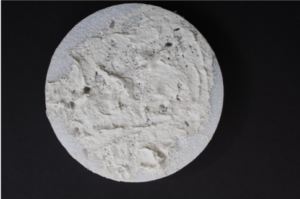 Lunar Survace craft with flour and paint creating a mottled lunar surface effect