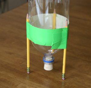 Plastic soda bottle rocket experiment