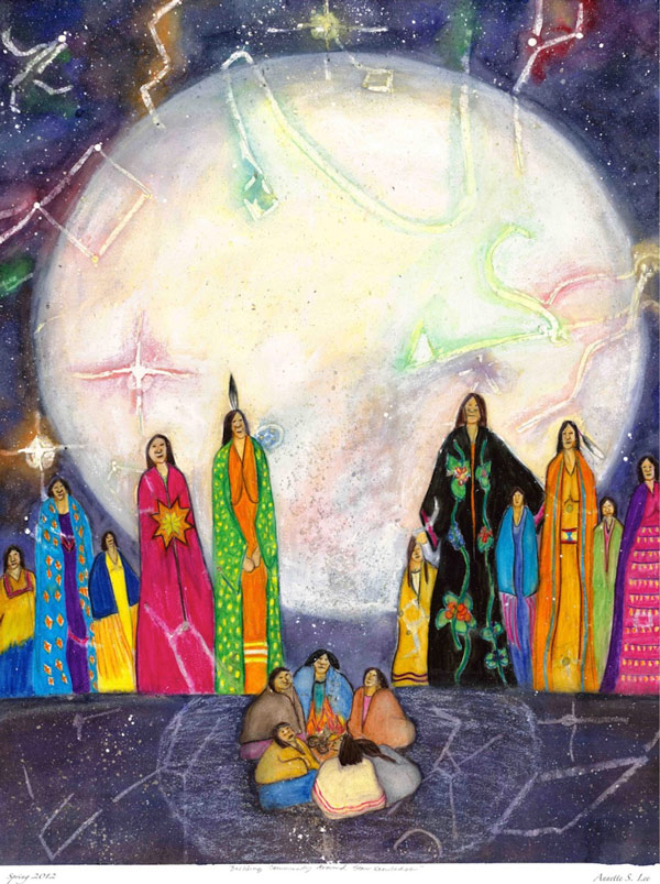 Colorful painting of Indigenous people, full moon