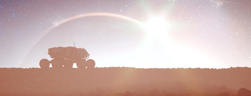 rover with sun in the background