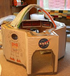 homemade space station model made out of cardboard
