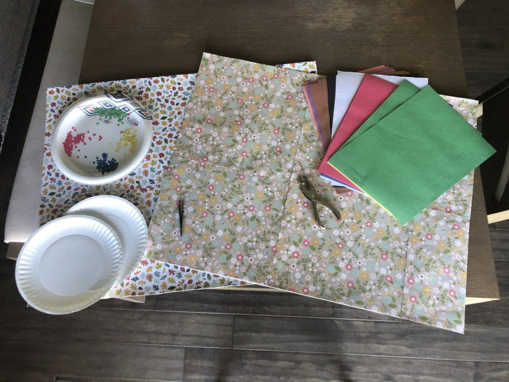 papers, plates, tweezers