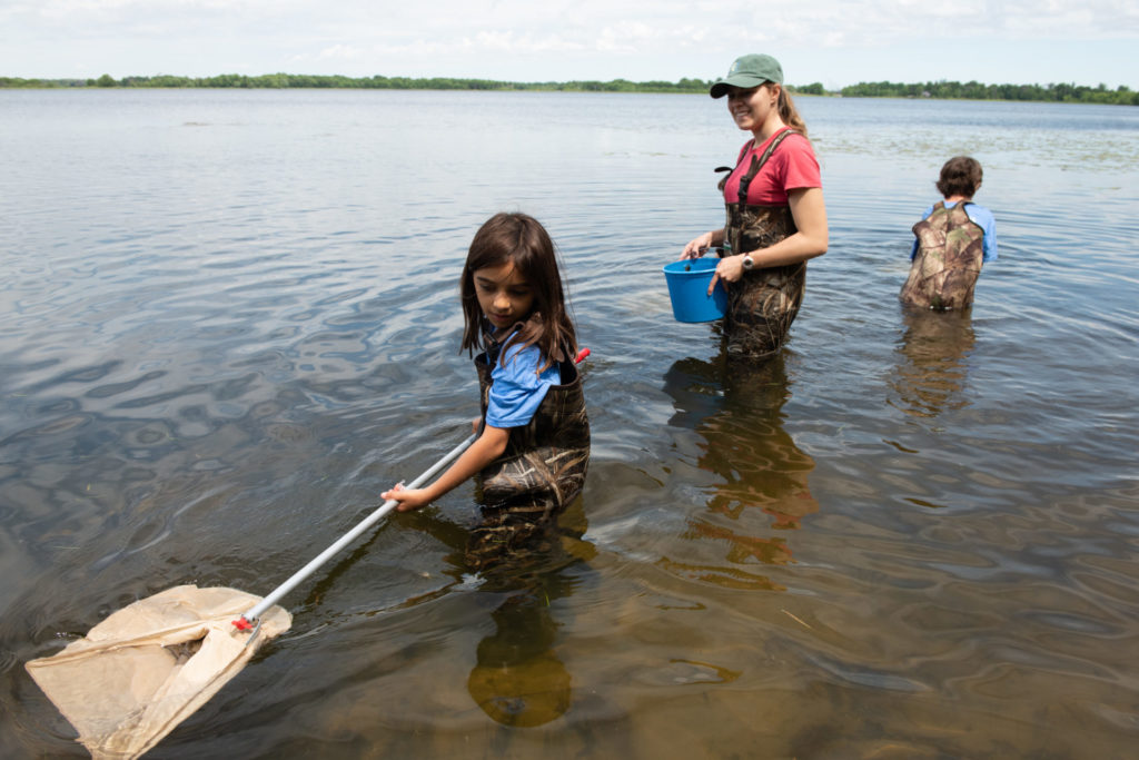 campers in waders use nets to catch aquatic bugs