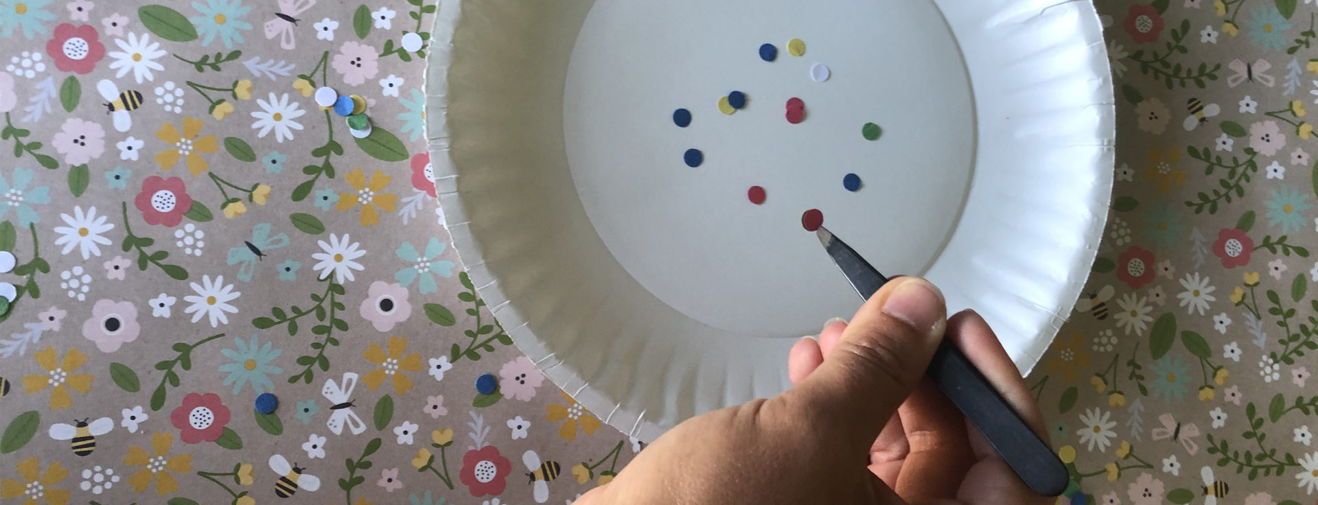 paper plate with dots on a colorful background