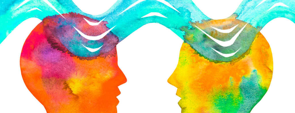 two watercolored heads connected by watercolor waves
