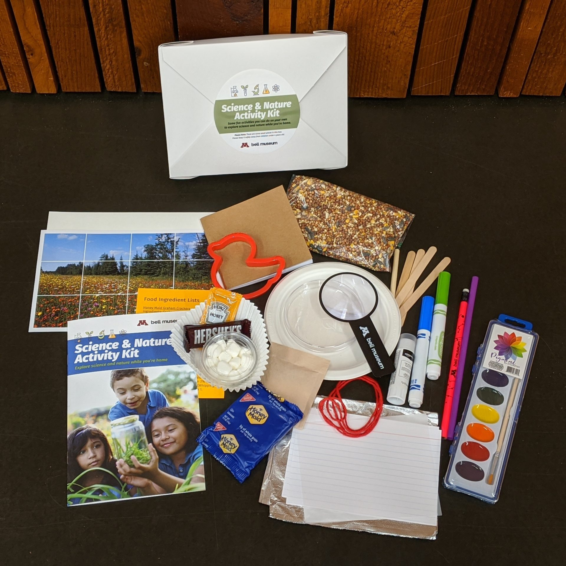 Activity kit full of science and crafting materials