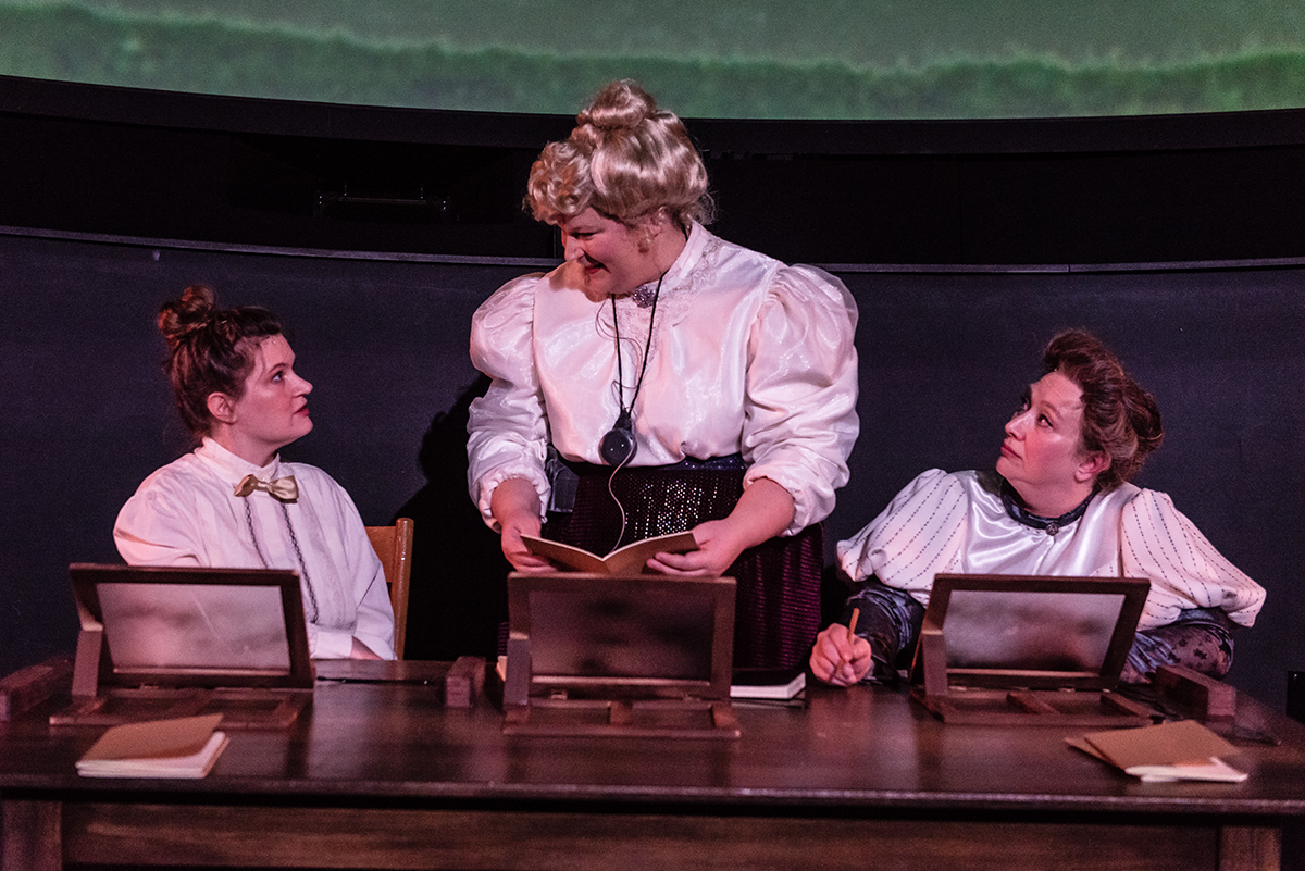 three actors talking in silent sky production