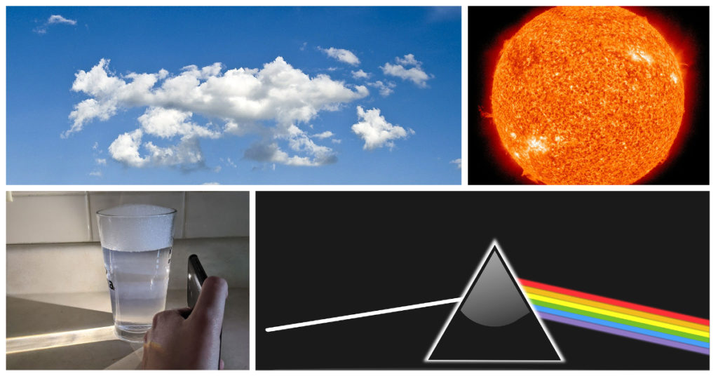 a panel of 4 images: blue sky with clouds, sun, glass of water with a light shone through, prism representation of white light entering and a rainbow of light colors exiting the prism at an angle
