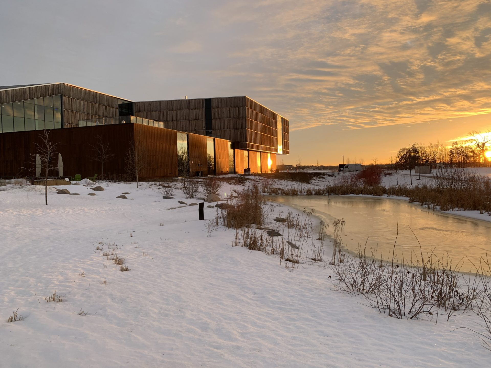 Bell museum at sunset in winter, snow on the ground