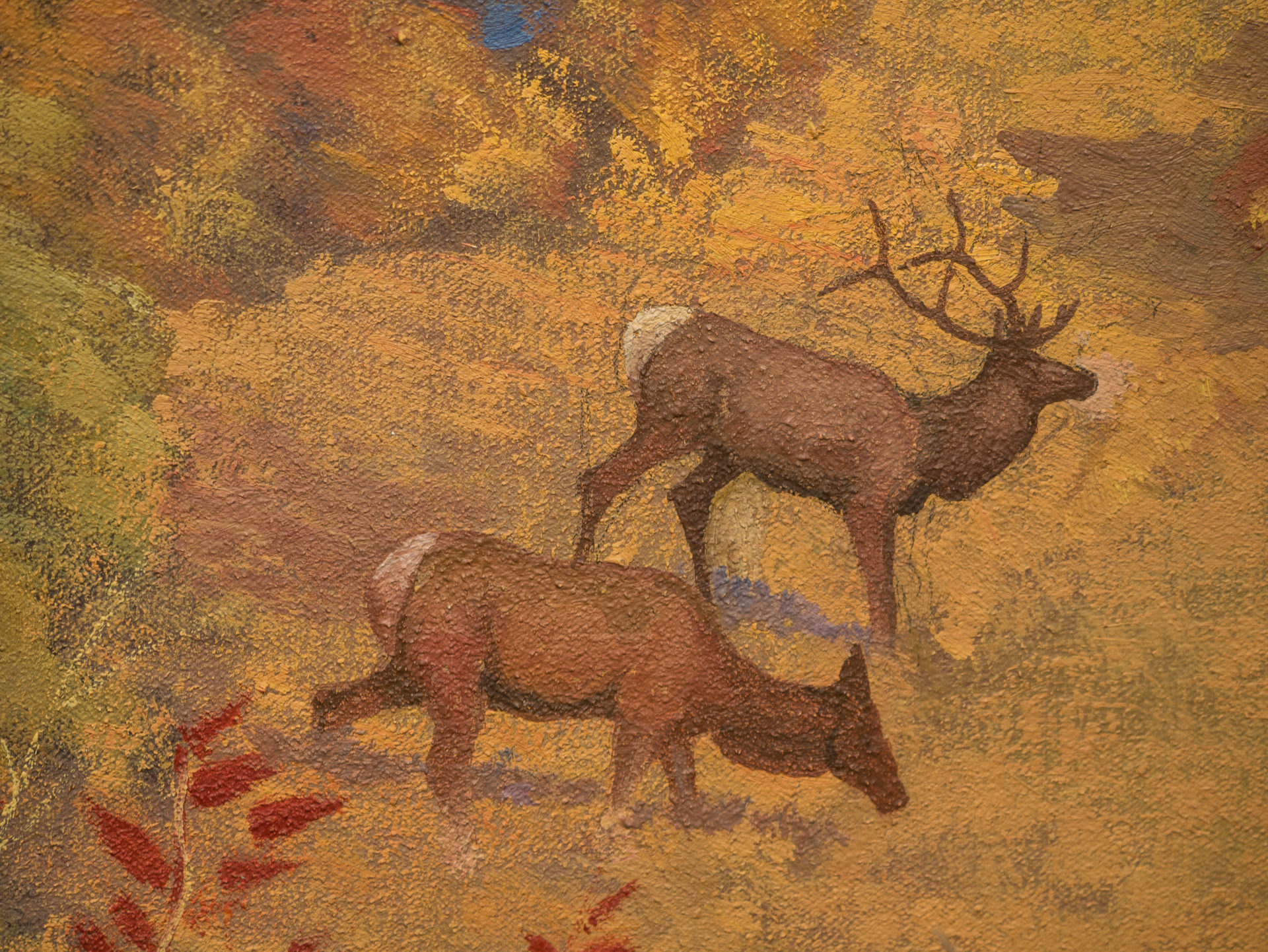 Jaques painting of 2 elk at a distance