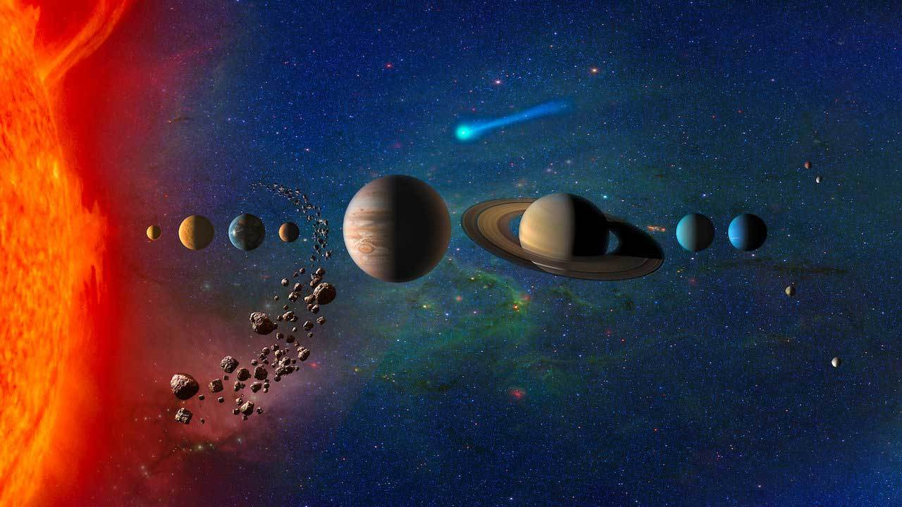 artistic rendering of objects fro our solar system lined up beyond the edge of the sun