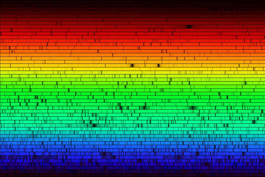 spectrum of the sun, arranged from red at the top to green in the middle to blue at the bottom. Multiple black lines indicate absorption in the spectrum