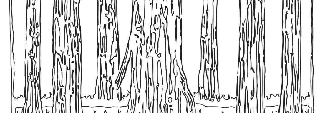 Black line drawing of a ring of logs and mushrooms