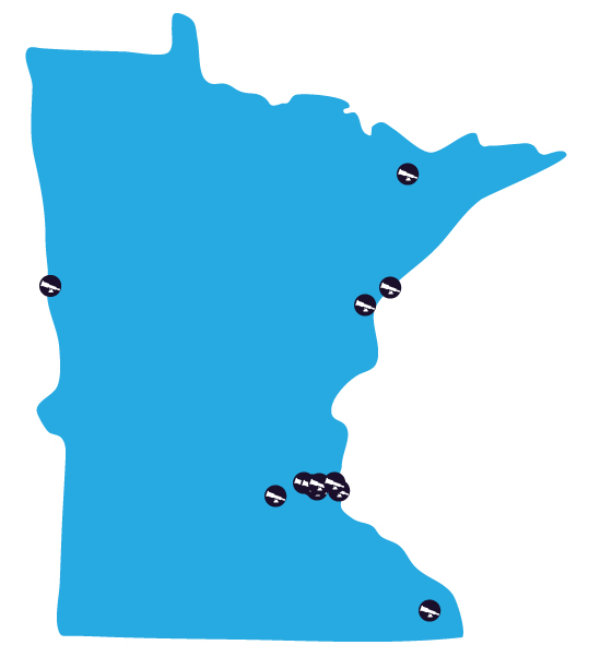 Map of Minnesota showing participating sites