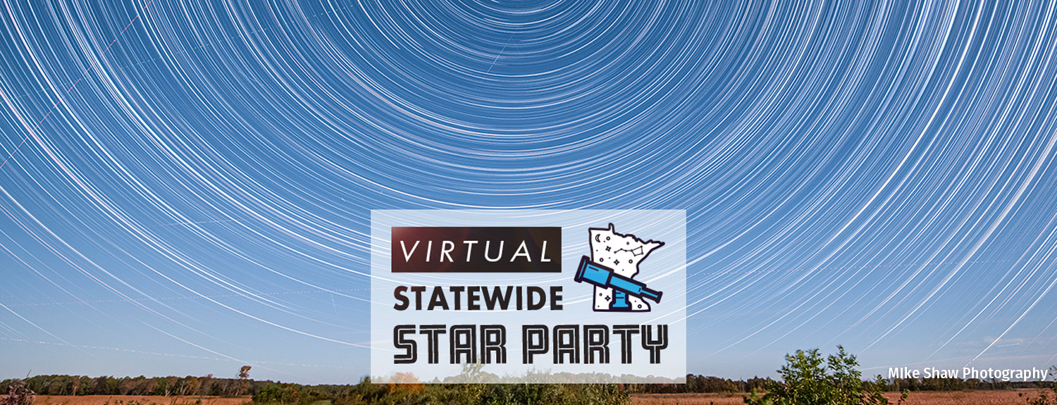 Virtual Statewide Star Party, photo of star trails in blue sky