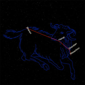 Constellation of Aries with ram image