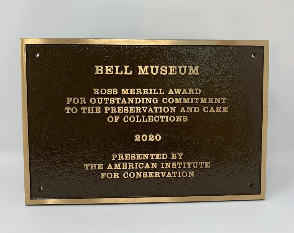 A photo of the 2020 Ross Merrill award for outstanding commitment to the preservation and care of collections