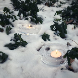 Ice lanterns with candles