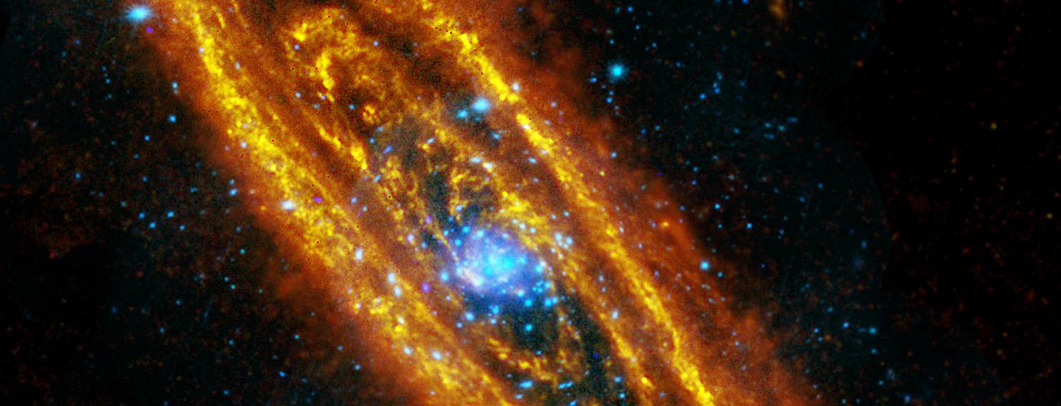 Andromeda galaxy, orange and blue spiral