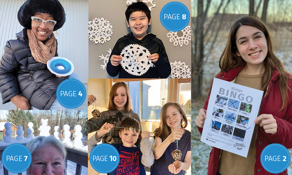 Collage of people showing winter activity examples with pages noted