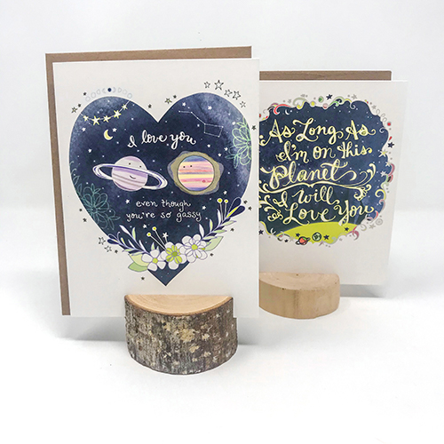 Two space-themed greeting cards
