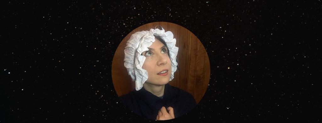 Actress portraying Caroline Herschel, starry background