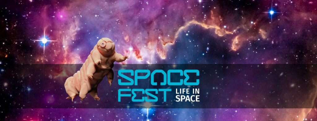 Space Fest: Life in Space (water bear superimposed on colorful nebula)