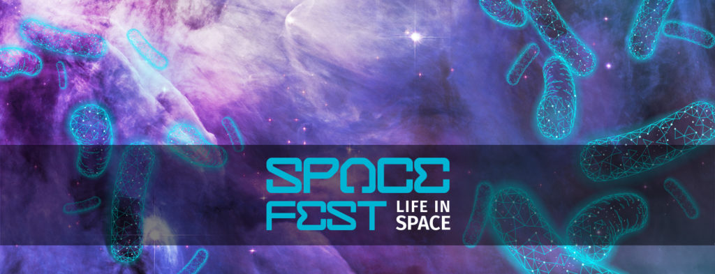 Space Fest: Life in Space, purple nebula overlaid with simple organisms